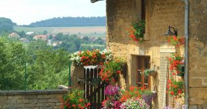 Flowered frontage with sunny Gaumaise valley background
